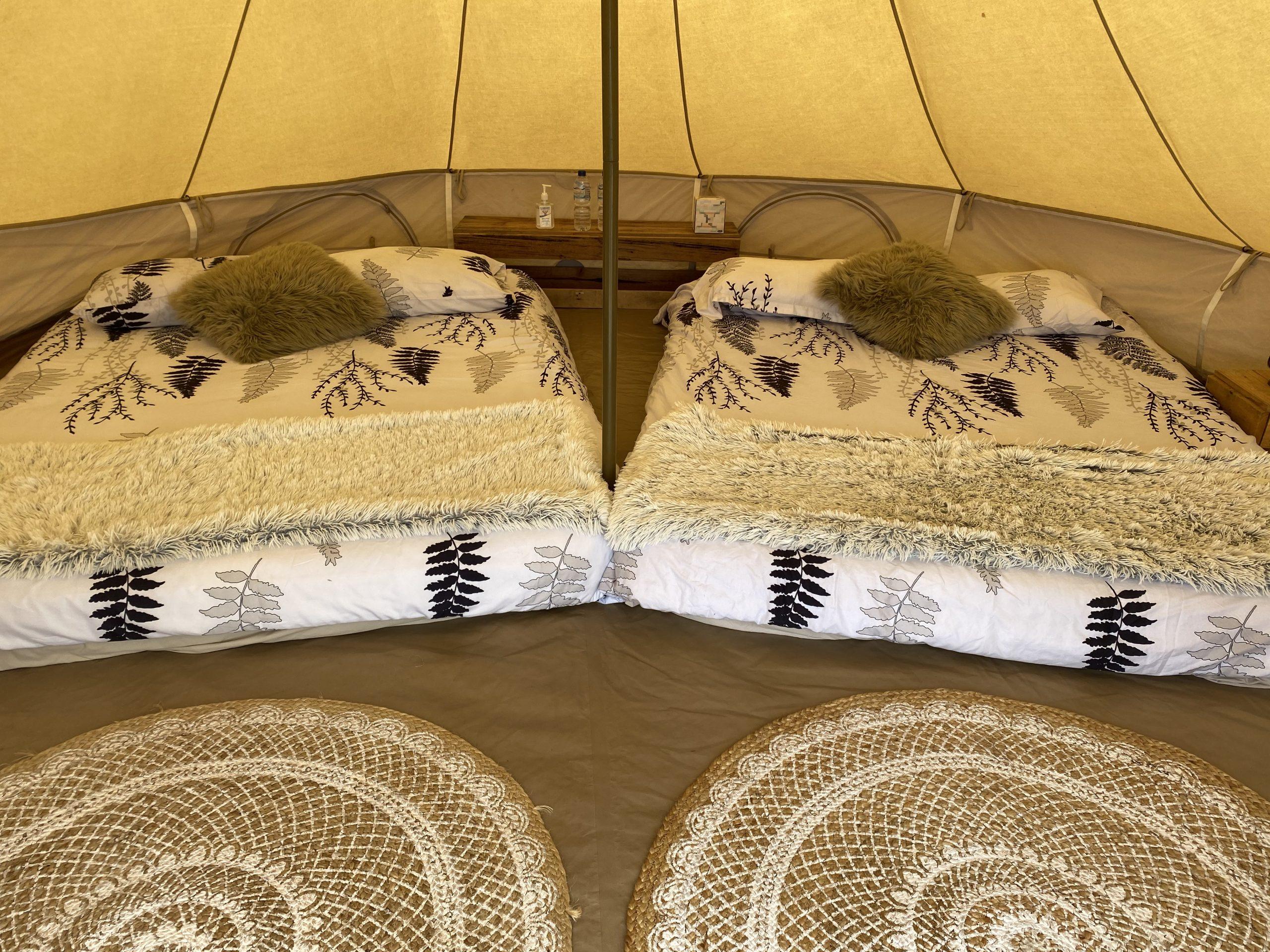 2 queen beds in 4.5 bell tent